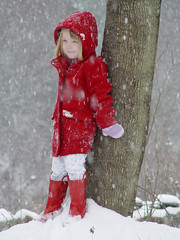 20051124 - First Snow of the Year - 1 (sadalit) Tags: winter red portrait snow childhood snowflakes bestof v snowfall redcoat redboots top20red