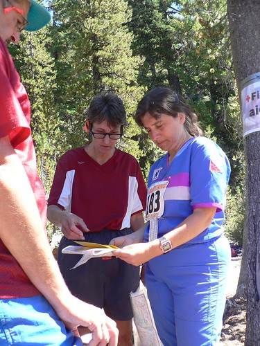Donna Fluegel and Nancy Koehler discuss splits - US Champs 2005 Oregon 070