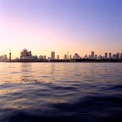 floated city (_rin_) Tags: japan tokyo bay river water sky sora yakatabune landscape evening 6x6 squareformat newmamiya6 g50mm film kodak meetup