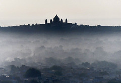 Jodhpur at sunrise (foto_morgana) Tags: india monochrome horizontal sunrise landscape outside cityscape foggy earlymorning scenic nopeople panoramic oriental iconic rajasthan jodhpur morningfog historicalcity traveldestinations umaidbhawanpalace highangleview elevatedview famousview splendidindia