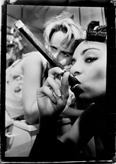 cigar (* Sontheimer Pictures *) Tags: woman film beautiful darkroom 35mm canon naughty bathroom women cigar huge shock manual curlers housecoat ginourmous crass sjs2 jls11 jrs7
