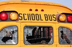 School days (RichLegg) Tags: old travel blue school orange bus broken childhood yellow canon eos 350d utah education fifties transportation schoolbus shattered provo elementary leggnet legg interestingness475 i500 leggnetcom richlegg richlegg wwwleggnetcom