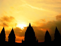 homage (Farl) Tags: travel sunset monument indonesia temple java dusk spires faith religion culture historical tradition hindu hinduism jawa preservation prambanan centraljava silhouettel