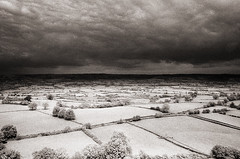 View from Glastonbury Tor (Trevor Hare) Tags: uk england sky bw film landscape glastonbury somerset infrared mendip mendips distagon contaxt hoyar72 28mmf28 somersetlevels coolscanv ilfordsfx200 contax139q englishlandscape