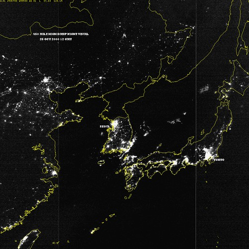 satellite photo of north korea at night. north amp; south korea at night