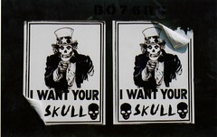 i want your skull (qichao) Tags: california ca streetart film flyer sandiego political protest misfits recruit