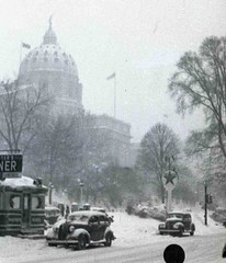 Harrisburg PA Capitol in the Snow, early 1940s (kawkawpa) Tags: street city blackandwhite bw snow vintage pennsylvania diner gasstation capitol texaco harrisburg kawkawpa