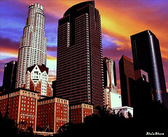 L.A. Skyline (Kris Kros) Tags: california ca sunset sky usa building tower public smile smart cali skyline photoshop sunrise buildings dawn la us losangeles interestingness cool interesting bravo pix downtown different dusk library faith creative bank landmark brain adventure socal brains excellent kris imagine change imagination downtownla really jjj anything important patience kkg usbank opportunities nofear extend libertytower librarytower extending usbanktower kros kriskros laskyline creativeness creativenss nonhdr kk2k top20la kkgallery