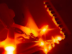 Lights-on-Banister (Danarah) Tags: light orange color night photoshop blurry banister