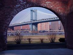 Bridge Arch (Hoot Owl) Tags: nyc bridge brick nycpb brooklyn arch picturesthroughholes dumbo manhattanbridge archway