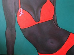 Pink Ribbon 2 (blu butterfly) Tags: pink orange woman black painting breast cancer aquamarine bikini ribbon awareness breastcancer pinkforthecure