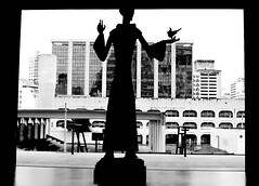 The view through one of the doors of the Metropolitan Cathedral in Rio de Janeiro (mistca) Tags: city brazil urban bw 15fav sculpture white black silhouette brasil architecture nikond70 religion 2870mmf3545d metropolitancathedral riodehaneiro