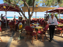 Pirate bar (Jean Bloor) Tags: cala majorca millor parrotpeople piraterestaurantwaiterseatingtablesbar