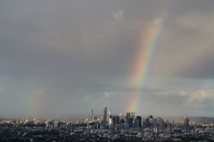 Rainbow over Brisbane (annburlingham) Tags: thechallengefactory winner rainbow tcf city urban brisbane queensland australia double sky mountcoottha cityscape skyline