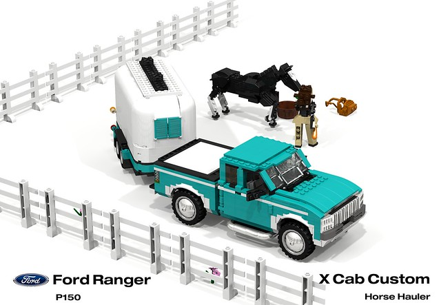 auto two usa moon ford car america truck team model ranger lego stuck offroad render 1996 4wd utility pickup hose ute chrome trailer custom rider equestrian challenge 92 1990s 90s cad lugnuts v6 povray moc ldd p150 miniland lego911 stuckinthe90s