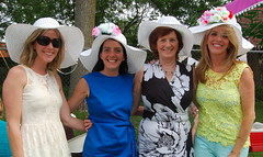 Helena Crossan Facciolo, Serena Crossan McCormack, Carmel Crossan Boyce & Collen Boyce Moran, all wearing hats designed by Helena