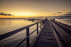 Wharf at sunset (dave.fergy) Tags: ocean sunset water landscape marine holidays au transport australia maritime wharf queensland fraserisland on1pics sunshinecoast2015