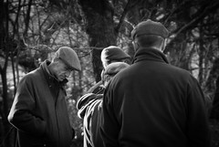 Eves Dropping (Chr1is76) Tags: evesdropping conversation farmers deepthought pondering leftout boxingday rivingtonbarn nikon tamron bw