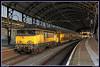 NSR 1779+DDM 7201 te Haarlem (Allard Bezoen) Tags: ddm ddm1 7200 7201 condor stam dubbeldeks materieel dubbeldeksmaterieel dubbeldekker geel blauw reclamebanden station haarlem spoor 5 ic intercity extra spitstrein 3448 1700 ns nederlandse spoorwegen loc eloc lok elok elektrolok lokomotieve locomotive locomotief 1779 alsthom gec francorail mte nez cassé trein train zug