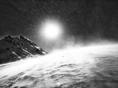 Super sun (Monique vd Hoeven) Tags: france winter mountains queyras hiking snowshoehiking snow storm sun supersun backlight blackandwhite monochrome iphone