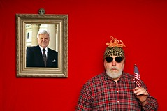 Portrait with a Dead Ted and an Octopus on my Head (Studio d'Xavier) Tags: werehere rhymingphotography dead ted red tedkennedy octopus head flag usa political 365 january262017 26365 stuffonmyhead portraitwithaportrait