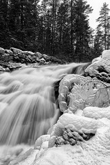 Skarselva (eriknst) Tags: snow ice winter oslo bandw waterfall blackandwhite snowbank outdoor landscape water frozen frost skar skarselva norway norge norwegen nordmarka marka norvege maridalen woods forest river stryk