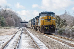 The Snow has Come and Gone (ajketh) Tags: csx csxt freight train railroad q696 ge general electric yn3 cw408 lingle richardson creek signals safetran monroe nc north carolina snow fallen fresh melted 7755