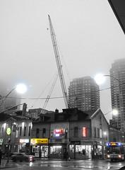 Rising (siong.lewis) Tags: urbanphotography urban streetscape urbanlife citylife construction constructioncranes fog rain toronto morning