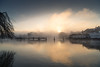 Fog on the weir (powellspin) Tags: marlowweir marlow buckinghamshire riverthames compleatanglerhotel fog sunrise landscape waterfront river sky water
