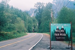 Welcome to Twin Peaks (goodfella2459) Tags: nikon f4 kodak ektar 100 35mm c41 film analog color colour welcome to twin peaks sign festival 2015 tv david lynch mark frost marumi blue hancer filter milf road north bend snoqualmie lensfiltersgroup lens filters group