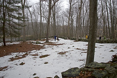 Arrival at the Pock Lot, 3-28-15 (Madison Historical Society) Tags: park old people usa snow history grave stone outside photo costume interesting nikon flickr shot image outdoor hiking connecticut country shoreline picture newengland ct places scene trail historical scenes reenactment pox mhs guilford conn smallpox d600 nikond600 madisonhistoricalsociety connecticutscenes madisonhistory bobgundersen pocklot