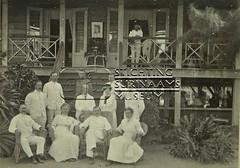 Groepsfoto echtpaar Calkoen en anderen