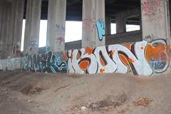 Omek, Ikon (NJphotograffer) Tags: graffiti graff new jersey nj trackside rail railroad bridge omek ogc rip ikon