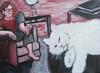 Paws Pause (Gila Mosaics n'stuff) Tags: red portrait woman art feet cat acrylic duo canvas