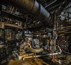 Below Deck (billmclaugh) Tags: plant industry photoshop canon dark midwest industrial shadows power urbanexploration generators powerplant sodium hdr highdynamicrange ue westinghouse lightroom urbex manufacturing boilers on1 condensors tse17mmf4l 5dmiii ef2470mmf28liiusm