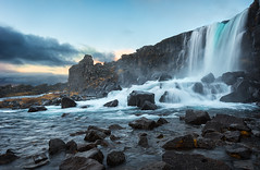 Volcanic Öxarárfoss (Pete Rowbottom, Wigan, UK) Tags: oxararfoss þingvellir thingvellir iceland icelandic waterfall dawn sunrise colourful icelandlandscape peterowbottom bluehour river falls slowshutterspeed þingvellirnationalpark nationalpark scandinavian morning earlymorning beautiful landmark nikond750 leefilters longexposure longexposurelandscape waterfalls water waterscape movement tranquil serene outdoor landscape europe rocks winter winterlandscape blackrocks volcanicrock volcanic lava volcano clouds cloud cloudscape freezing cold riveröxará almannagjá icelandwaterfall dramatic iceland2016 geotagged