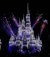 Castle lighting ceromony during Christmas (Turnstiles gone by) Tags: disney disneyworld magic kingdom magickingdom park christmas castle florida light fireworks night nighttime