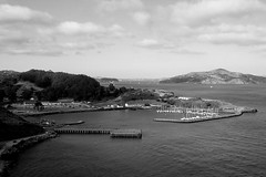 another time (edwardpalmquist) Tags: marin goldengate sanfrancisco california nature landscape ocean sea waterscape sky clouds mountains boat outdoors travel blackandwhite monochrome