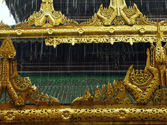 Rain on a Tin Roof (Argentem) Tags: rain tinroof golddecoration shwedagonpagoda yangon rangoon myanmar burma