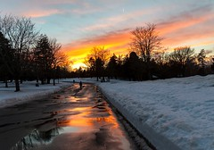 Sunset Walk (Karen_Chappell) Tags: sunset orange park nfld newfoundland stjohns bowringpark road people reflection reflections sky trees snow winter january canada atlanticcanada avalonpeninsula blue weather clouds silhouette scenery scenic landscape