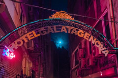 Istanbul (elsableda) Tags: neon hotel sign istanbul turkey colors color pink blue purple winter night midnight fantasy haunting