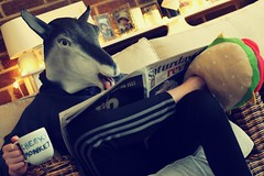 3//52 And now for something completely different.... (NikkiNakkiNoo365) Tags: goat mask reading newspaper cup tea cheeky monkey burger slippers portrait 52 weeks 2017 3 week canon 1100d 50mm saturday surreal bizarre acting silly billy slogan mug