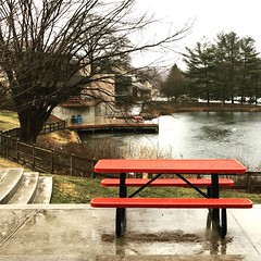 Park School on a wet, dreary day (karma (Karen)) Tags: parkschool pikesville maryland schools ponds benches tables rainywindyday squared iphone brightcolors hbm cmwd
