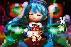 Hatsune Miku Nendoroid (double exposure) (photolyria) Tags: bunny girl smile doll colours zelda hatsune miku majorasmask nendoroid