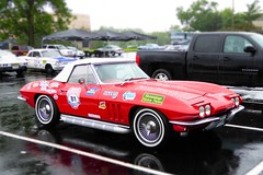 2015 Great Race Participant - Red 1965 Chevrolet Corvette Roadster in Sunset Hills, MO_P1070712c2 (Wampa-One) Tags: red chevrolet wet stingray convertible chevy corvette c2 1965 roadster tiltshift midyear sidepipes miniaturefake greatrace2015