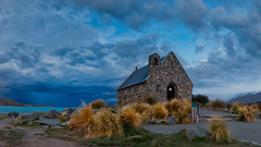 Church of the Good Shepherd 1 (RoosterMan64) Tags: sunset newzealand panorama lake clouds canon panoramic churchofthegoodshepherd 1740l laketakapo