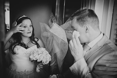 Wedding (♥siebe ©) Tags: wedding people blackandwhite bw holland home netherlands monochrome dutch groom bride couple tears emotion marriage thuis trouwen 2015 bruidspaar tranen bruid traan trouwfoto emotie trouwreportage bruidsfoto siebebaardafotografie wwweenfotograafgezochtnl