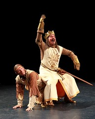 """Gary Beach (top) as King Arthur and Andy Taylor as Patsy in the 2010 Music Circus premiere of the Tony Award-winning Best Musical """"Monty Python's Spamalot"""" at the Wells Fargo Pavilion, July 9-18.  Photo by Charr Crail."""