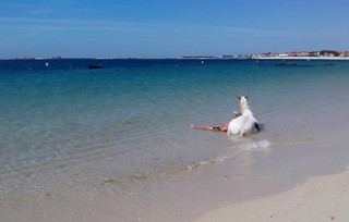 Refrescándose en la playa de Aguiño.