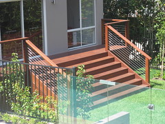 Wide decking and staircase